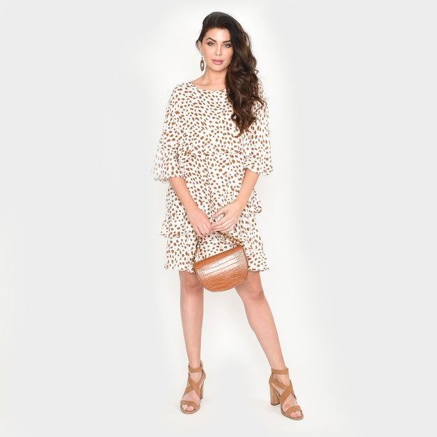 Adorne: Lozzy Frill Dress Animal Print - S/M