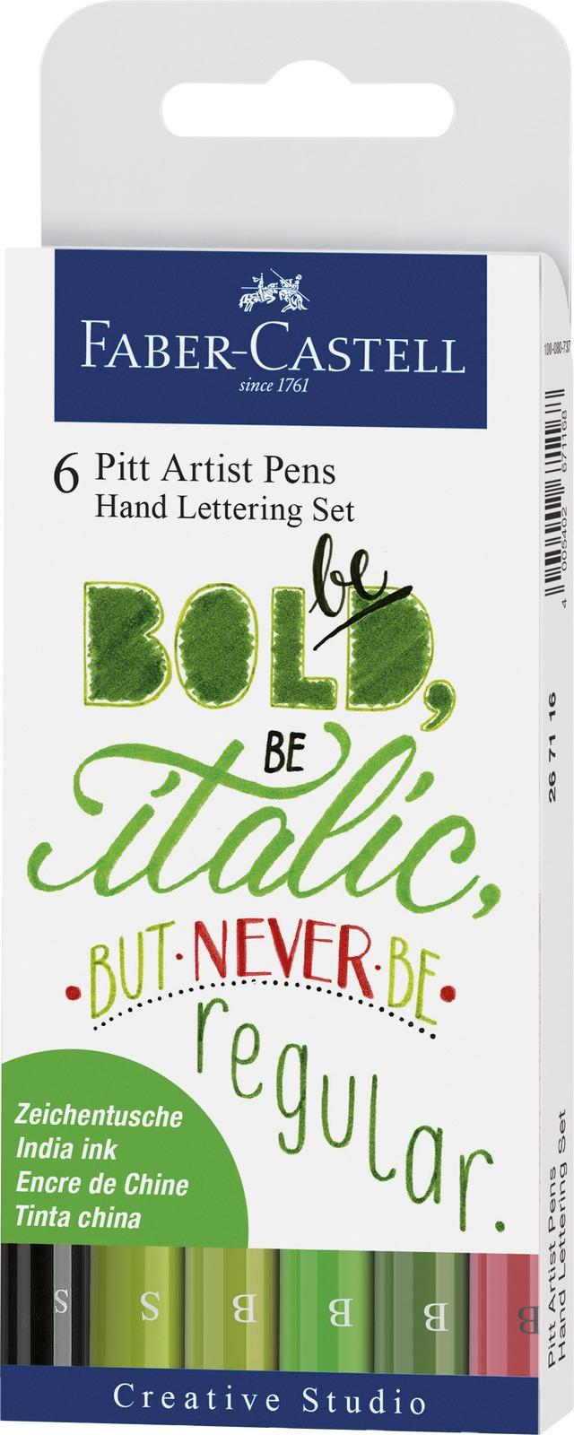 Faber-Castell: Pitt Artist Pens Hand Lettering Green (Set of 6) image
