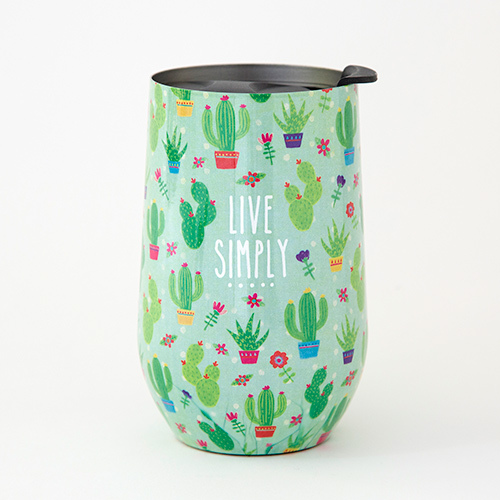Natural Life: Stainless Steel Wine Tumbler - Live Simply Cactus