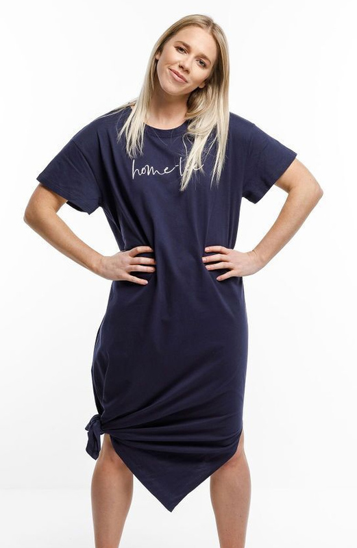 Home-Lee: Boyfriend Midi Dress - Navy With White Home Lee Embroidery - 14
