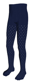 Patterned Navy/Creme Cotton Tights (Size 1-2 Years)