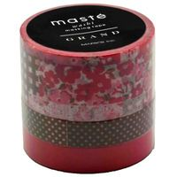 Maste Washi Tape - Red and Brown 10M Rolls (Set of 3)