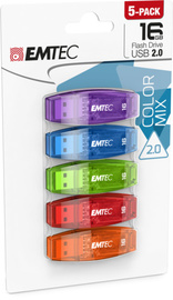 Emtec Flashdrive 16GB C410 5 Pack - Blue/Green /Red/ Purple/Orange