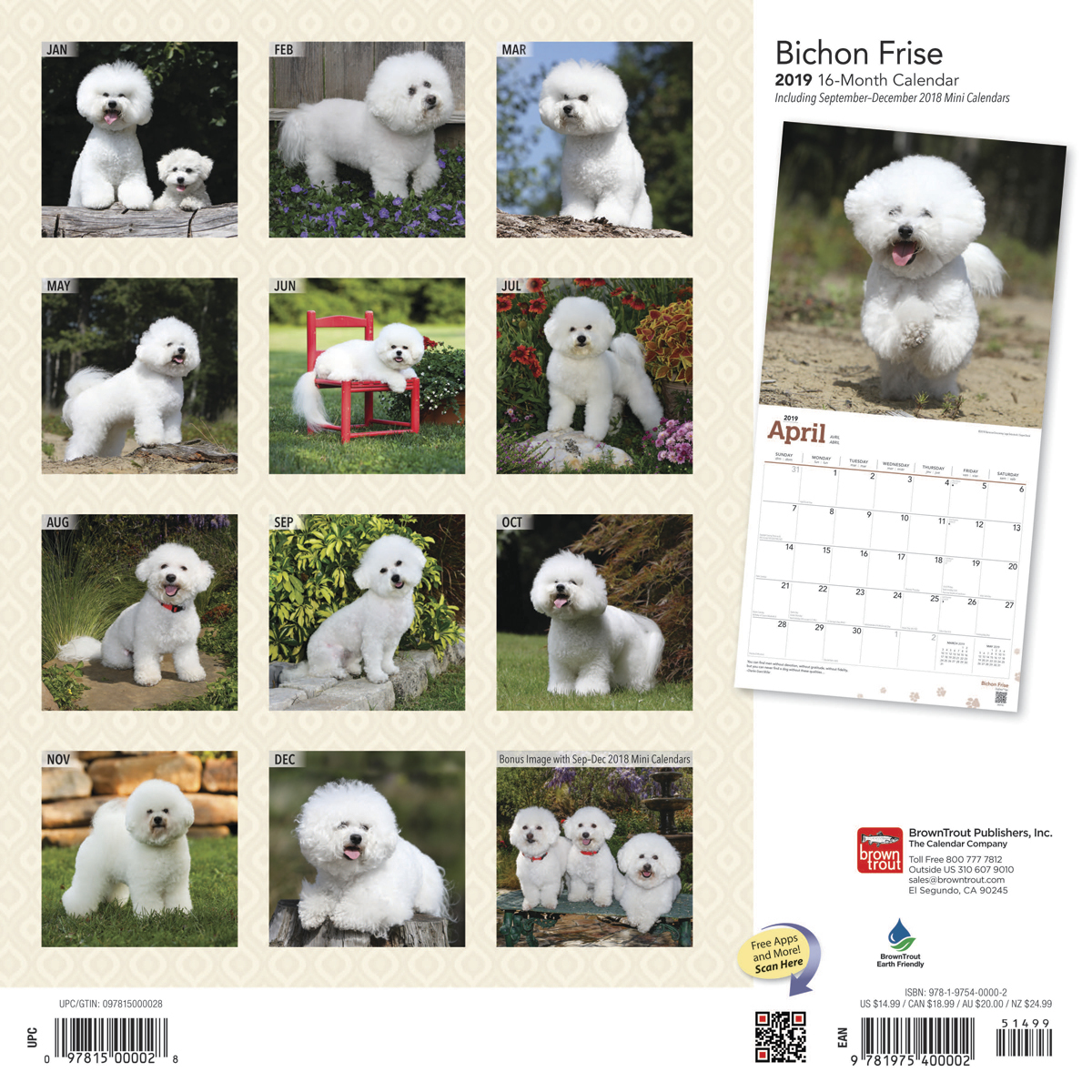 Bichon Frise 2019 Square Wall Calendar by Inc Browntrout Publishers image