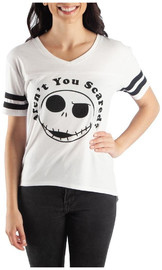 Nightmare Before Christmas Jack Yoked Hi-Lo V Neck T Shirt L