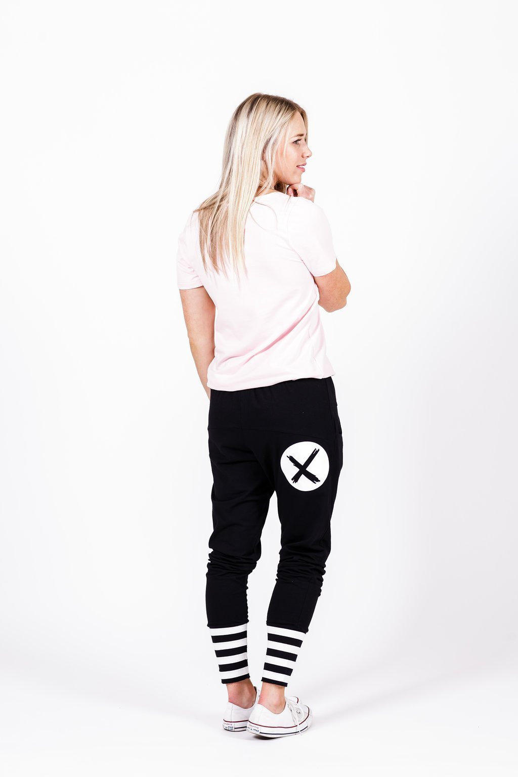 Home-Lee: Apartment Pants -Black With White X Spot Print And Stripe Cuffs - 8 image