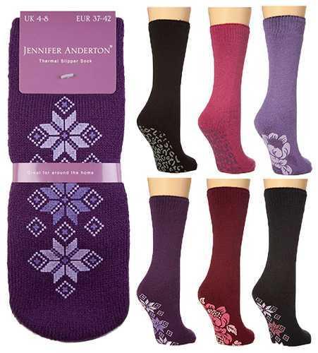 Women's Thermal Lounge NonSlip Gripper Slipper Socks (Assorted) image