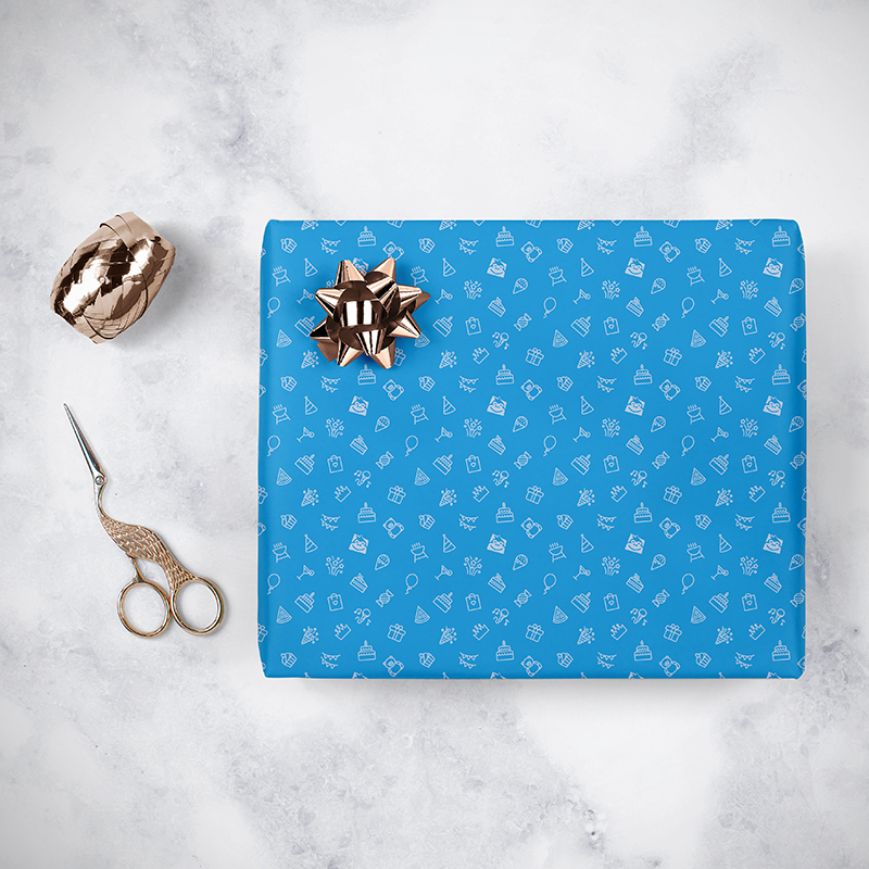 Gorilla Gift: Wrapping Paper - Birthday Blue (2m) image