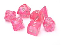 Chessex Signature Polyhedral Dice Set Borealis Pink/Silver