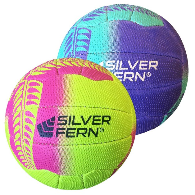 Silver Fern Tui Netball - Pink & Yellow (Size 4)