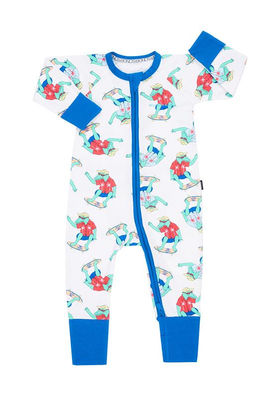 Bonds Zip Wondersuit Long Sleeve - Aliskater White (Newborn)