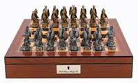"Dal Rossi: Mystical Dragons - 16"" Pewter Chess Set (Walnut Finish)"