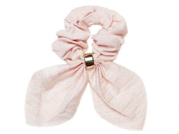Hepburn & Co: Linen Look Gold Ring Scrunchie - Pink