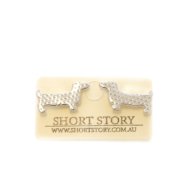 Short Story: Sausage Dog Earrings - Silver