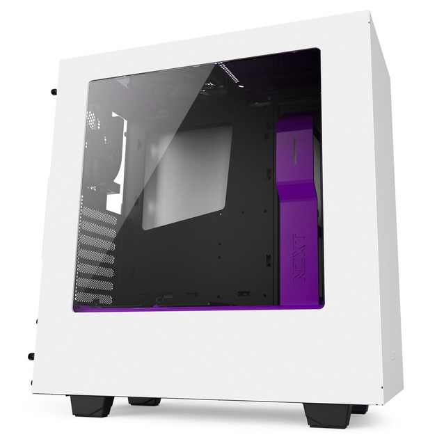 NZXT S340 Windowed Mid Tower Case - White/Purple