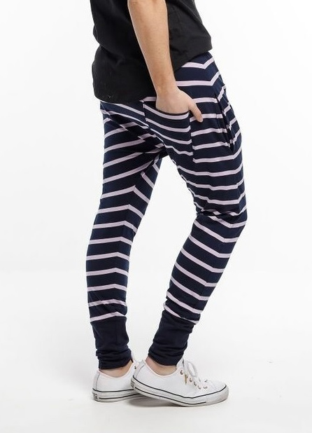 Home-Lee: Relaxer Pants - Navy And Purple Stripes - 8