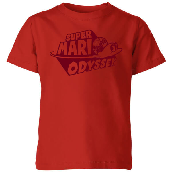 Nintendo Super Mario Odyssey Logo Kids' T-Shirt - Red - 7-8 Years image