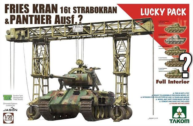 Takom 1/35 Fries Kran 16t Strabokran 1943/44 Production Combined w/Panther (w/Full Interior) Lucky Pack - Model Kit