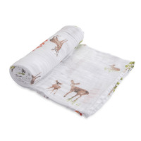 Little Unicorn: Cotton Muslin Swaddle - Oh Deer (Single)