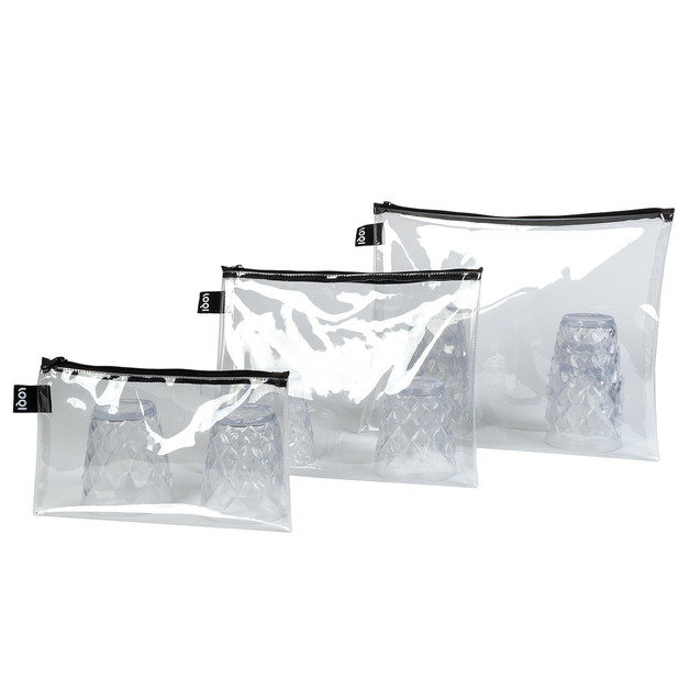 LOQI: Zip Pocket - Transparent (Set of 3)