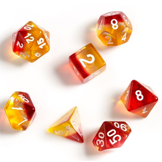 Sirius Dice Yellow Red White Polyhedral Dice Set