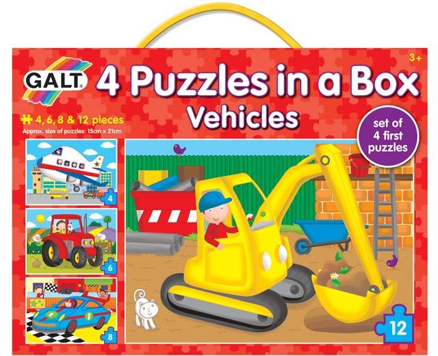 4 Puzzles in a Box Vehicles by Galt image
