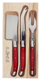 Andre Verdier Laguioles Debutant Cheese Knife Set of 3 (Red)