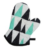 General Eclectic Single Oven Mitt - Black & Mint Triangles