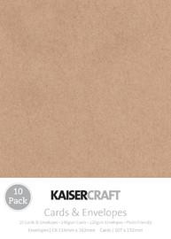 Kaisercraft: Small Card and Envelope 10 Pack - Kraft