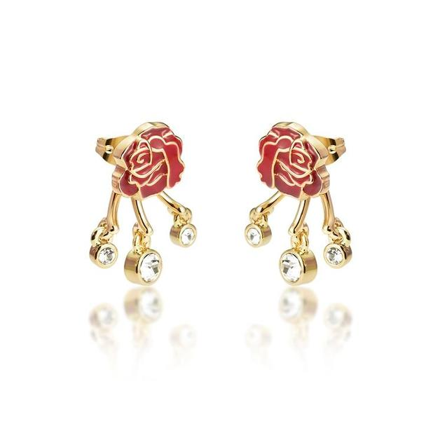 Couture Kingdom: Disney - Princess Belle Rose Earring set (Yellow Gold)