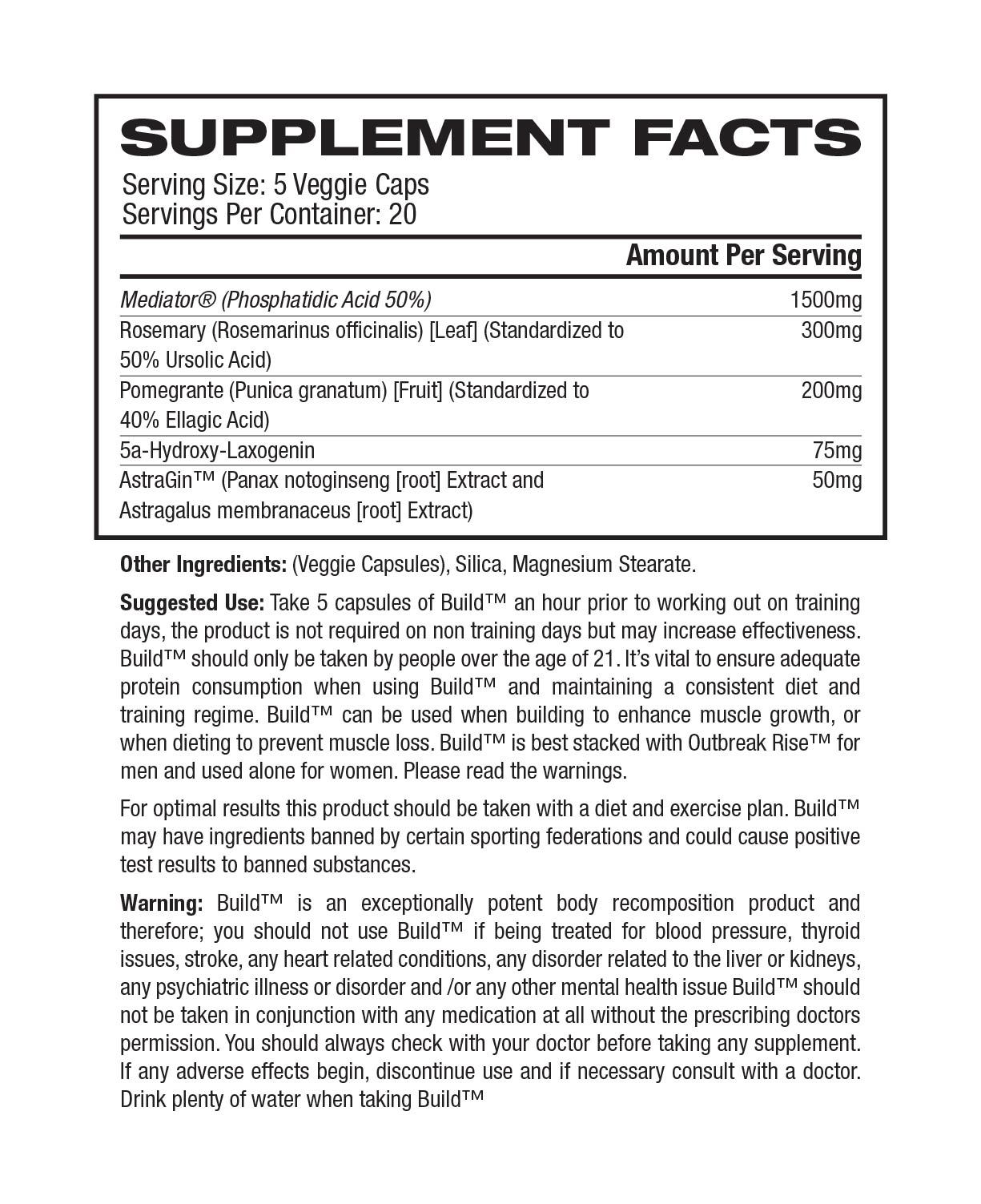 Outbreak Nutrition: Build Testosterone Booster (100 Capsules) image