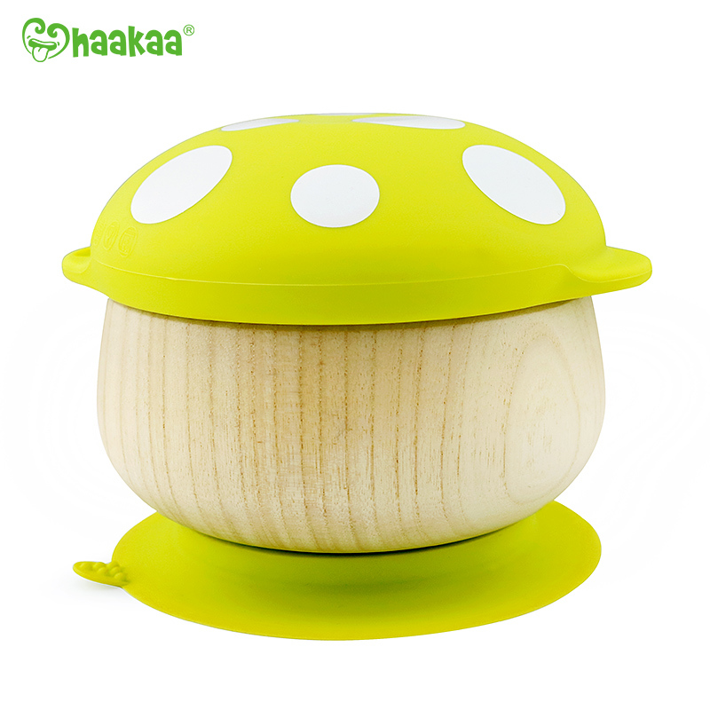 Haakaa: Wooden Mushroom Bowl with Suction Base - Green image