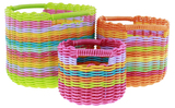 Set of 3 Round Storage Baskets (Inset Handles)