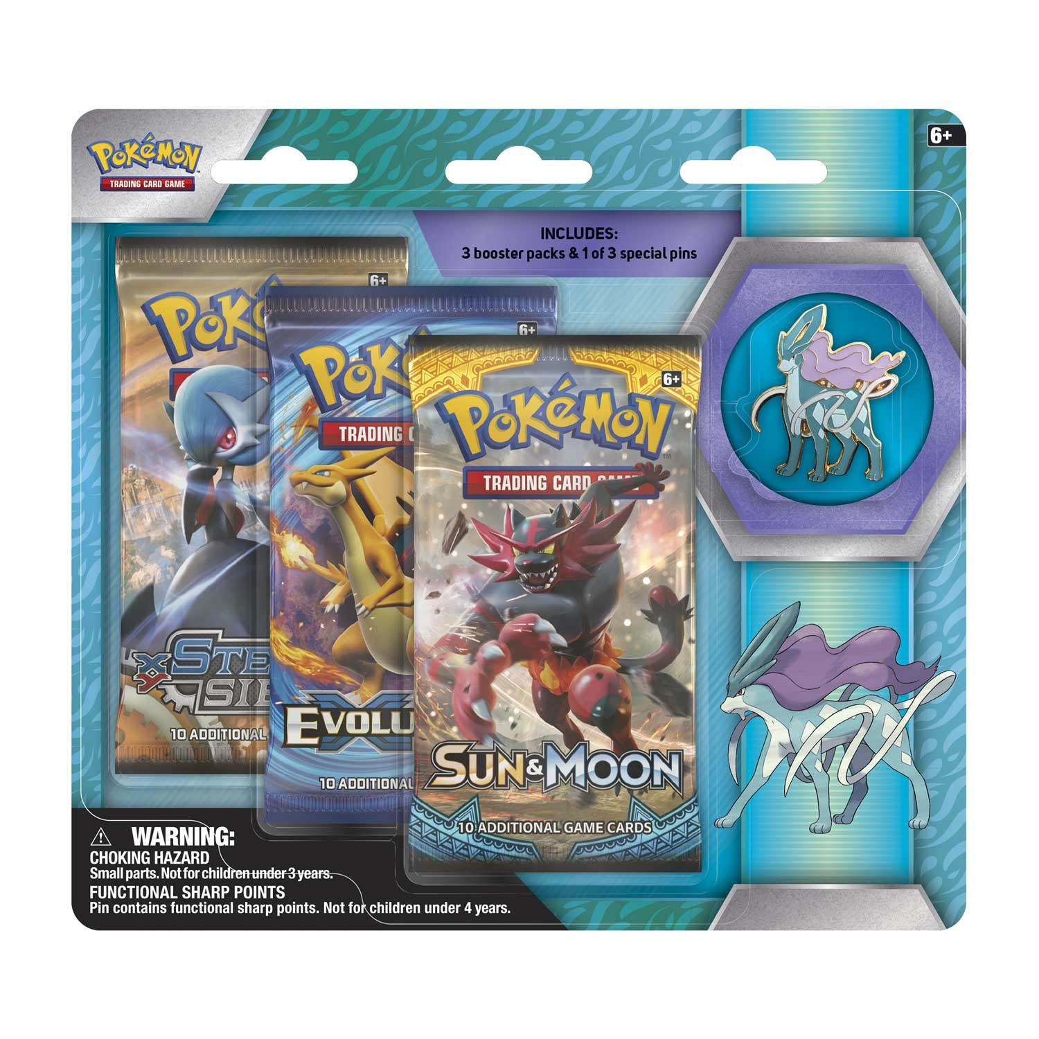 Pokemon TCG Suicune 3 Pack Pin Blister image