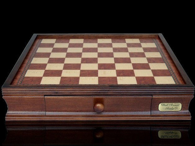 "Dal Rossi: Chess Box with Draws - 16"" Game Board (Walnut Finish)"
