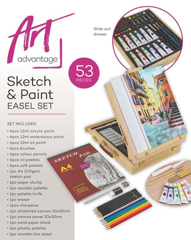 Art Advantgage: Sketch & Paint Easel Set (53pc)