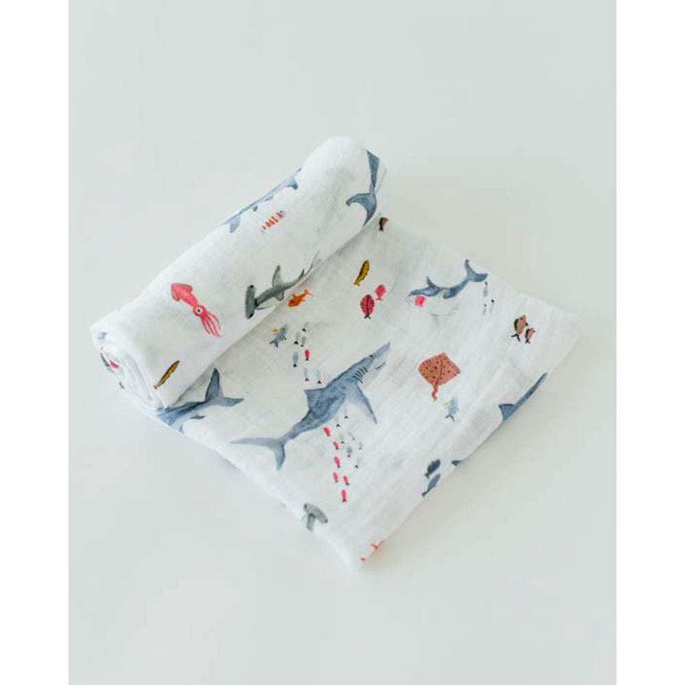 Little Unicorn - Cotton Muslin Swaddle - Shark (3 Pack) image