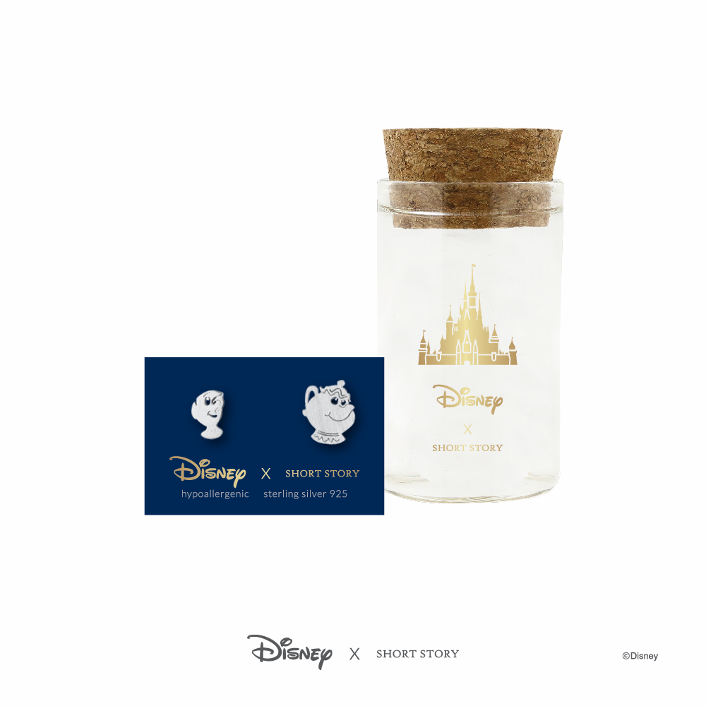 Disney Earring Belle Mrs Potts and Chip - Silver image