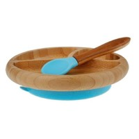 Avanchy Baby Bamboo Stay Put Suction Plate + Spoon - Blue