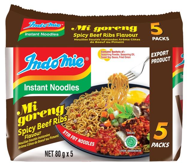 Indomie Spicy Beef Ribs Noodles 80g 5pk