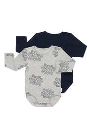 Bonds Ribbies Bodysuit 2 Pack - Bubble Grey Marle / North West (12-18 Months)