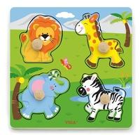 VIGA Wooden Toys: Wooden Knob Puzzle - Wild Animals