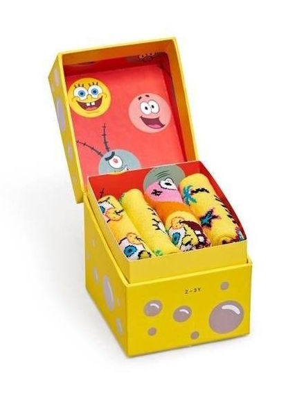 Happy Socks: Kids Spongebob 4-pack gift box 0-12M