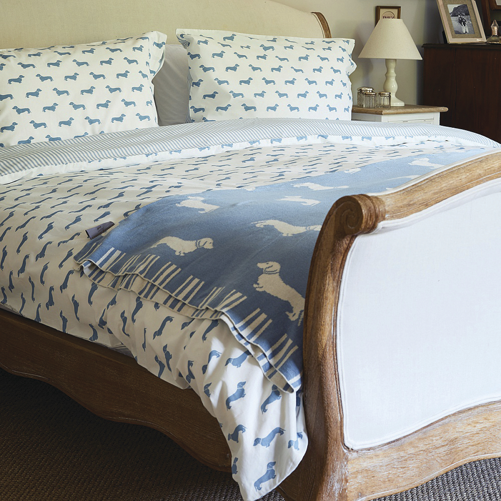 Emily Bond Knit Throw Blanket - Blue Dachshunds image