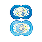 MAM Night Silicone Soother 4-24 Months - 2 Pack (Blue)