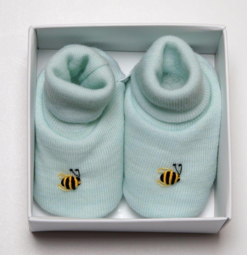 Dimples: Gift Boxed - Merino Pastel Marl Booties - Mint (3-6 Months) image