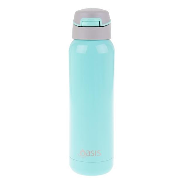 Oasis: Stainless Steel Insulated Drink Bottle W/Flip Straw Lid - Spearmint (500ml)