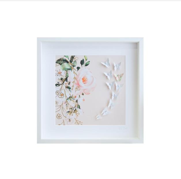 Large White Frame Floral (Pink)