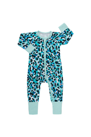 Bonds Zip Wondersuit Long Sleeve - Jungle Spot Aqua Frost (Newborn)