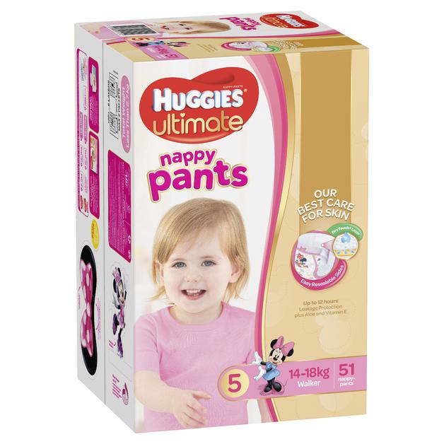 Huggies Ultimate Nappy Pants: Jumbo Pack - Walker Girl 12-17kg (51)